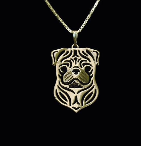 Handmade Pug Necklace Carved Hollow Pendant -  Silver/Golden