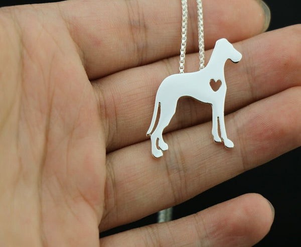 Great Dane Heart Necklace And Pendant - Colors Silve/Gold