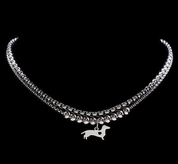Beautiful Dachshund Dog Stainless Steel Statement Necklace Silver Color Double
