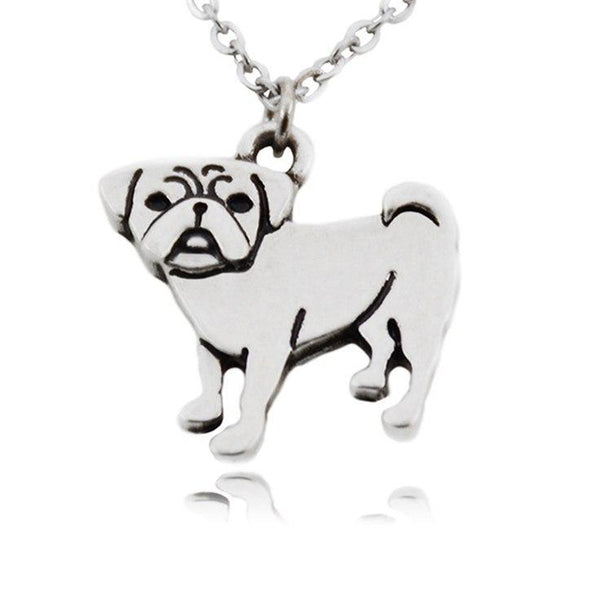 Chic Pug Pendant Statement Necklace with Stainless Steel Chain