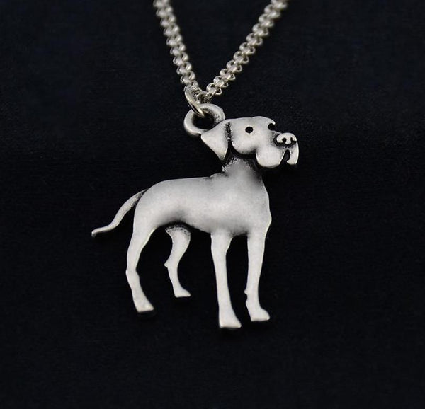 Vintage Stainless Steel Long Chain Great Dane Pendant