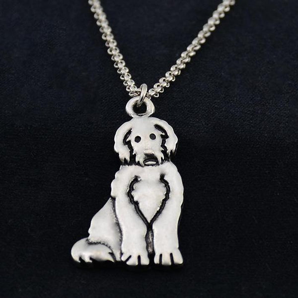 Vintage Stainless Steel Chain - Goldendoodle Dog Charm Pendant Necklace