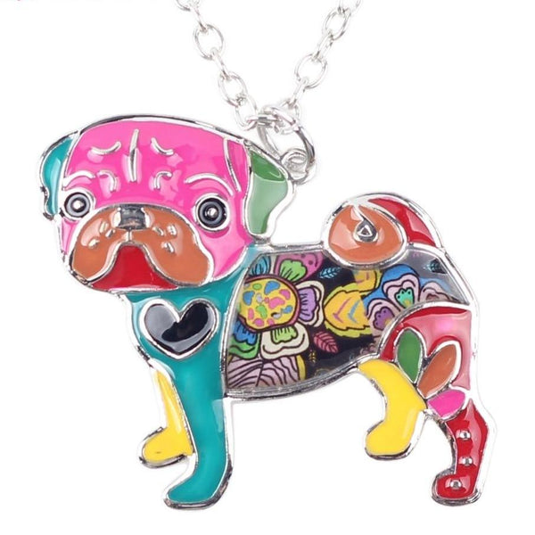 Colorful Metal Alloy Enamel Pug Pendant and Chain