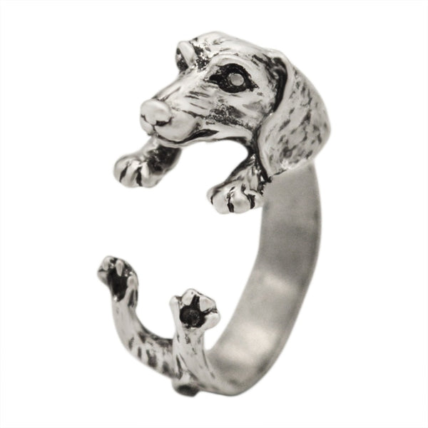 Handmade Dachshund Dog Ring - Black/Bronze/Silver
