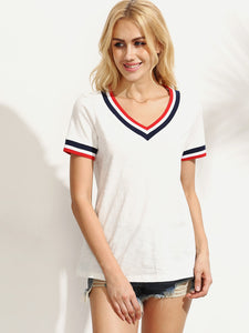Striped Trim V-cut T-shirt