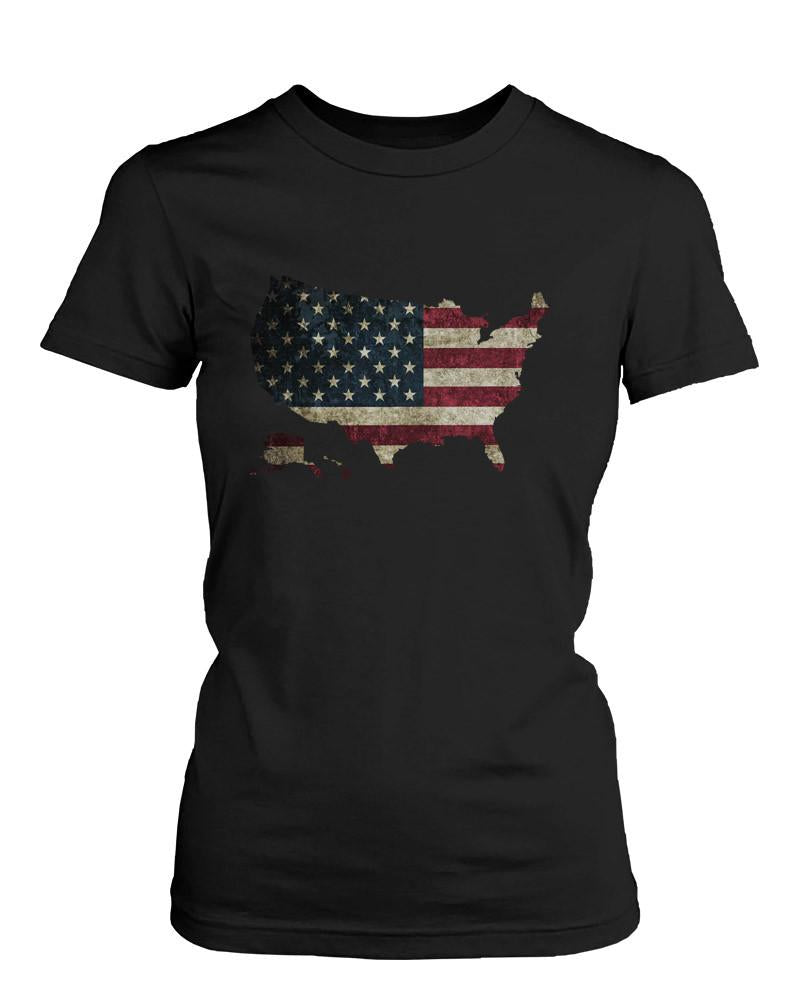 Women's Black T-shirt - US Flag in US Map