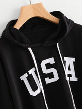 Load image into Gallery viewer, USA Flag Printed Drawstring Hoodie