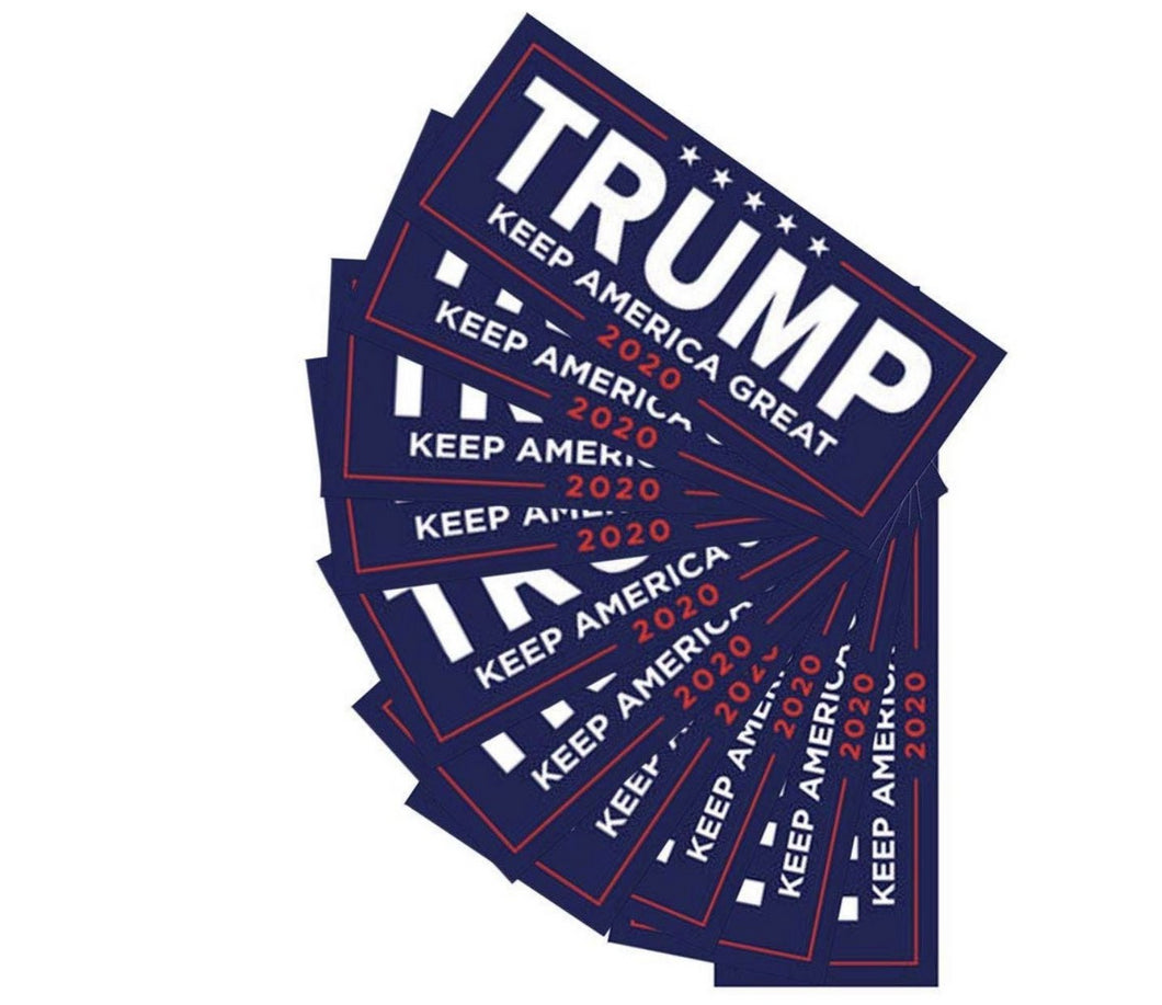 Trump KAG 2020 Bumper Sticker in Blue 10 Pack