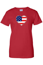 Load image into Gallery viewer, USA Flag T Shirt Love & Pride Women's Juniors Tee