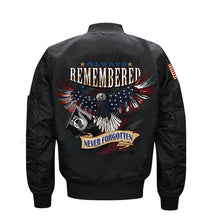 Load image into Gallery viewer, Always Remembered Never Forgotten Veterans Flight Jacket