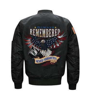 Always Remembered Never Forgotten Veterans Flight Jacket