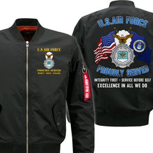Load image into Gallery viewer, US Air Force Veteran Security Police Flight Bomber Jacket
