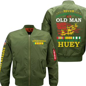 Never Underestimete An Old Man Who Flew In A HUEY-Veteran Flight Jacket