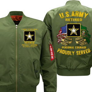 US Army Retired Veteran Bomber Flight Jacket