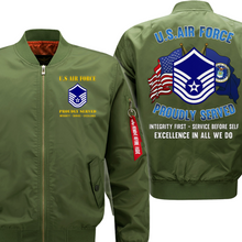Load image into Gallery viewer, US Air Force E-7 Master Sergeant MSgt Veteran Flight Bomber Jacket