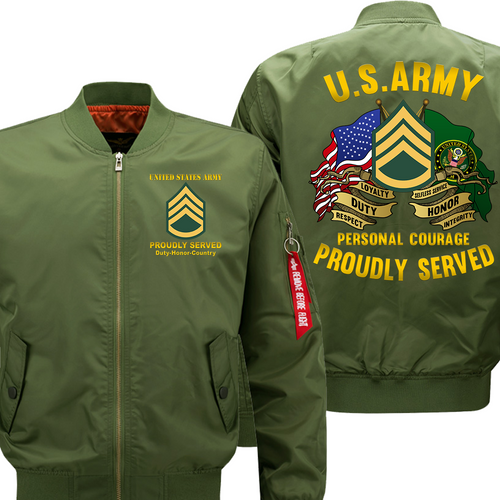 US Army E-6 Staff Sergeant E6 SSG Noncommissioned Officer Veteran Flight Bomber Jacket