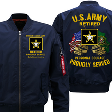Load image into Gallery viewer, US Army Retired Veteran Bomber Flight Jacket