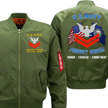 Load image into Gallery viewer, US Navy E-5 Petty Officer Second Class  Veteran Flight Bomber Jacket