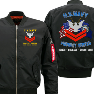 US Navy E-5 Petty Officer Second Class  Veteran Flight Bomber Jacket