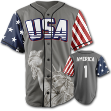 Load image into Gallery viewer, America #1 Baseball Jersey