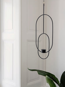 Hanging Tealight Deco - Oval - Black by fermLIVING