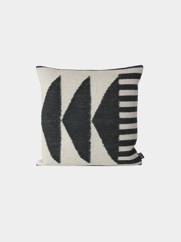 Kelim Cushion - Black Triangles by fermLIVING