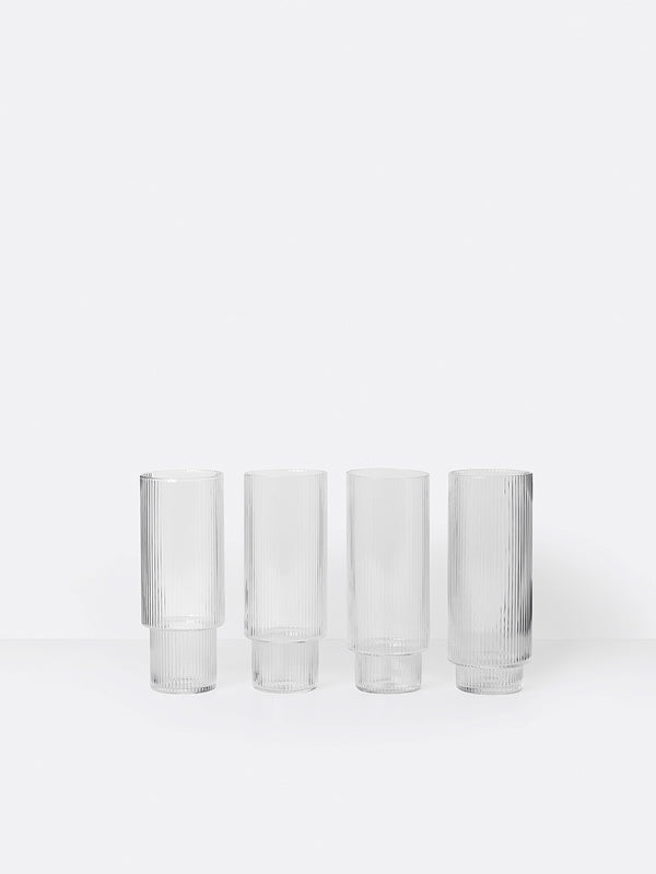Ripple Long Drinking Glasses (set of 4) by fermLIVING