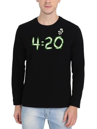 420 Smoke Men's Black Full Sleeve Round Neck T-Shirt - DrunkenMonk