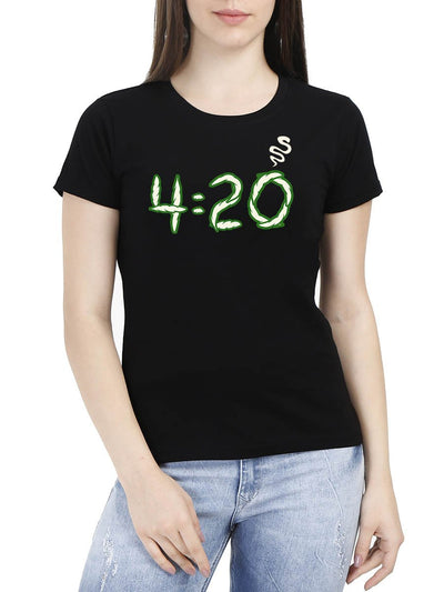 420 Smoke Women's Black Round Neck T-Shirt - DrunkenMonk