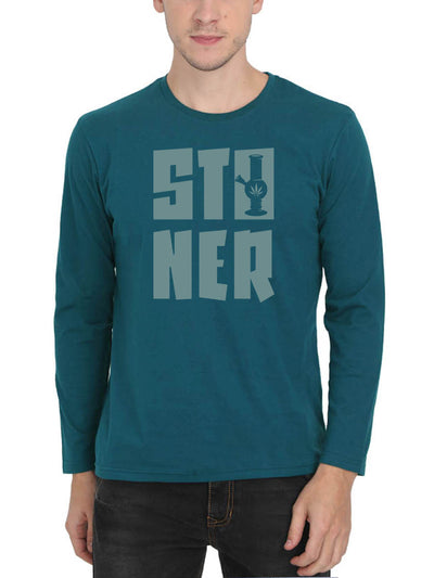 Stoner Men's Petrol Full Sleeve Round Neck T-Shirt