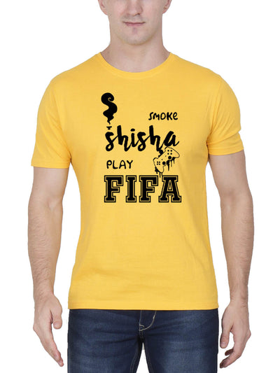 Smoke Shisha Play FIFA Stoner Men's Yellow Half Sleeve Round Neck T-Shirt