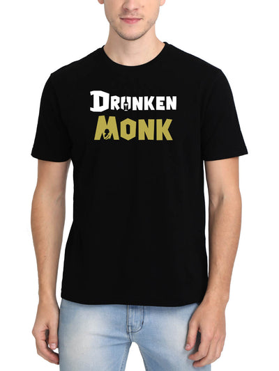 DrunkenMonk Self Branded Men's Black Half Sleeve Round Neck T-Shirt