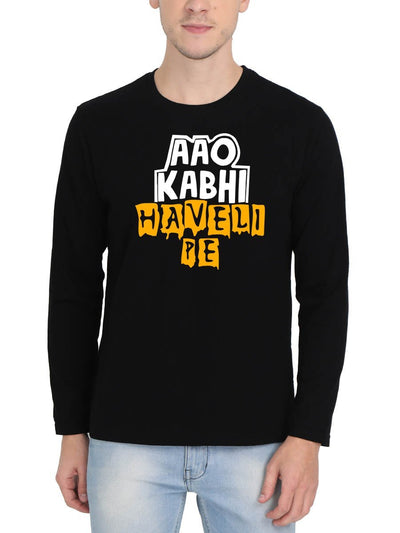 Aao Kabhi Haveli Pe Men's Black Full Sleeve Hindi Movie Round Neck T-Shirt - DrunkenMonk