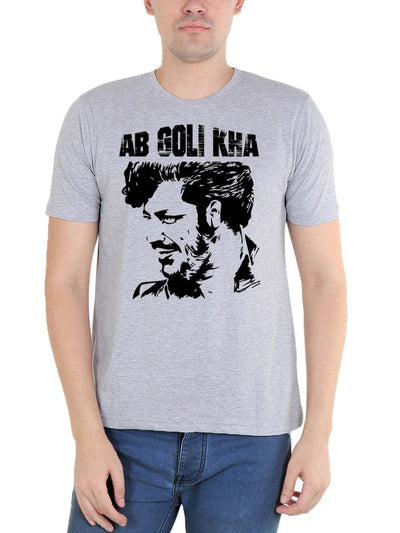 Ab Goli Kha Men's Grey Melange Hindi Movie Round Neck T-Shirt - DrunkenMonk