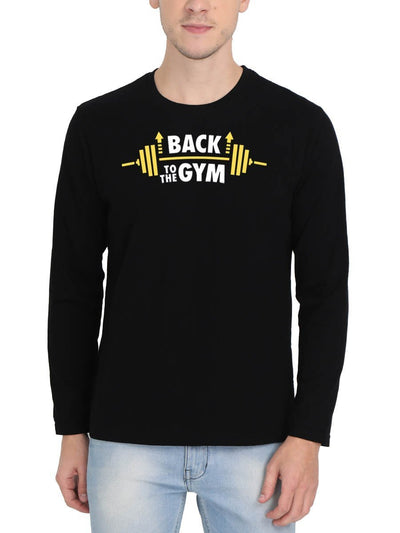 Back To The Gym Men's Black Full Sleeve Round Neck T-Shirt - DrunkenMonk