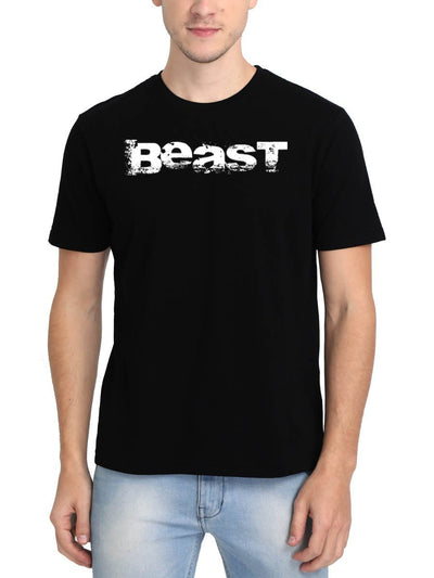 Beast Men's Black Round Neck T-Shirt - DrunkenMonk
