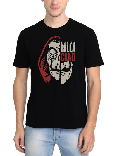 Bella Ciao El Professor Money Heist Men's Black Half Sleeve Round Neck T-Shirt - DrunkenMonk