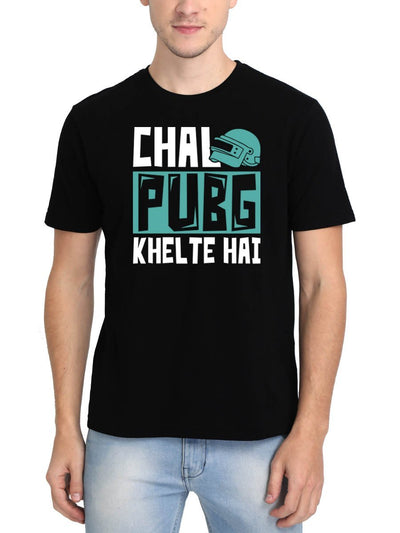 Chal PUBG Khelte Hai Men's Black Round Neck T-Shirt - DrunkenMonk