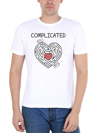 Complicated Relationship Heart Maze Men's White Round Neck T-Shirt - DrunkenMonk