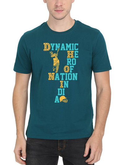 Dynamic Hero Of Nation India - DHONI Men's Petrol Half Sleeve Round Neck T-Shirt - DrunkenMonk