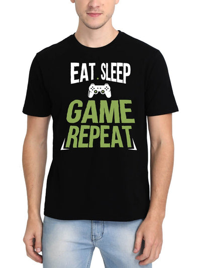 Eat Sleep Game Repeat Men's Black Round Neck T-Shirt - DrunkenMonk