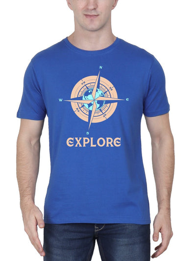 Explore Compass Men's Royal Blue Half Sleeve Round Neck T-Shirt - DrunkenMonk