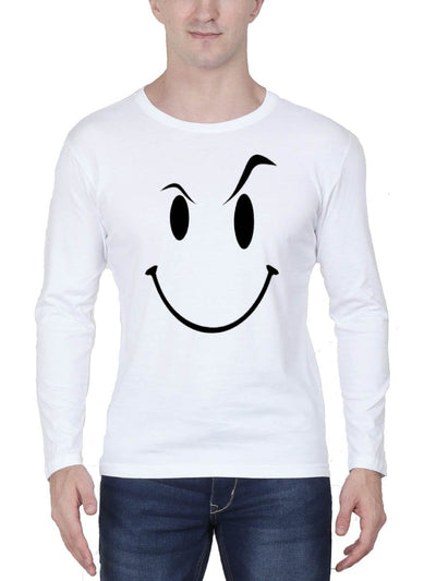 Eyebrow Raised Emoji Men's White Full Sleeve Round Neck T-Shirt - DrunkenMonk
