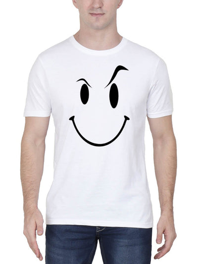 Eyebrow Raised Emoji Men's White Half Sleeve Round Neck T-Shirt - DrunkenMonk