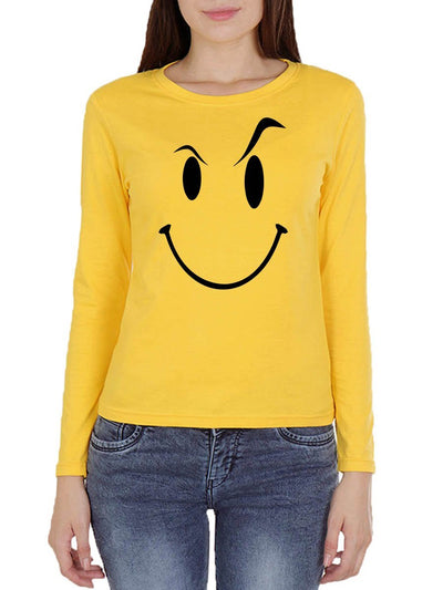 Eyebrow Raised Emoji Women's Yellow Full Sleeve Round Neck T-Shirt - DrunkenMonk
