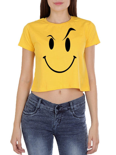 Eyebrow Raised Emoji Women's Yellow Half Sleeve Crop Top - DrunkenMonk