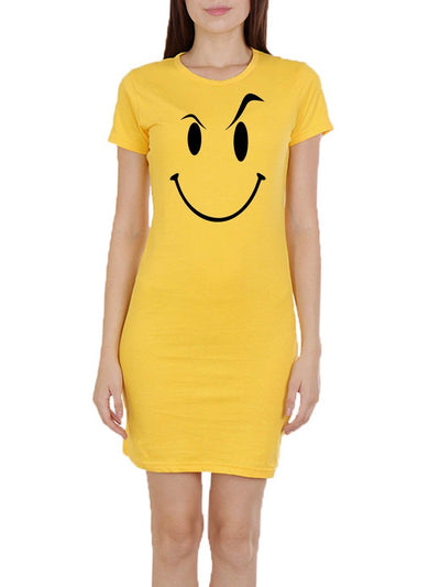 Drama Queen Women's Yellow Half Sleeve T-Shirt Dress