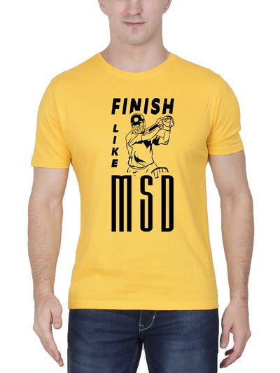 Finish Like MSD Men's Yellow Half Sleeve Round Neck T-Shirt - DrunkenMonk