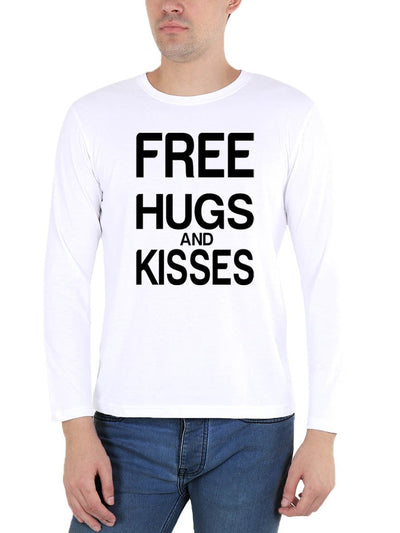 Free Hugs And Kisses Men's White Full Sleeve Round Neck T-Shirt - DrunkenMonk