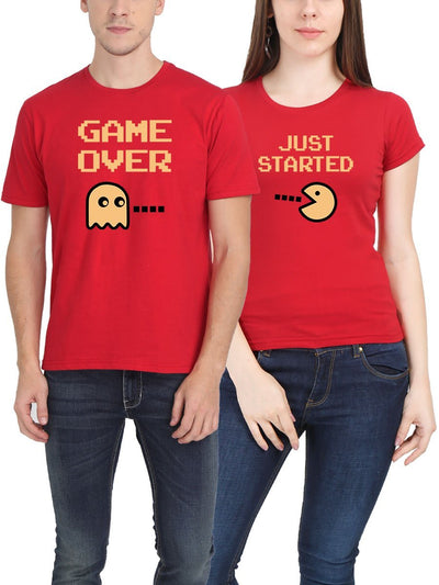 Game Over Just Started Red Half Sleeve Couple Round Neck T-Shirt - DrunkenMonk